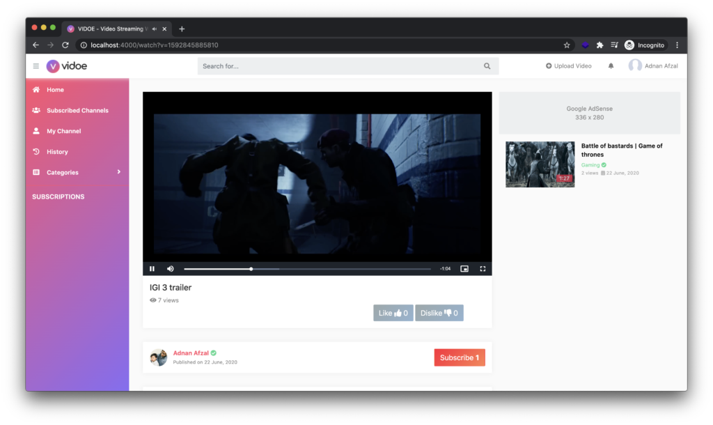 Video page   Video streaming web app in Node JS and Mongo DB