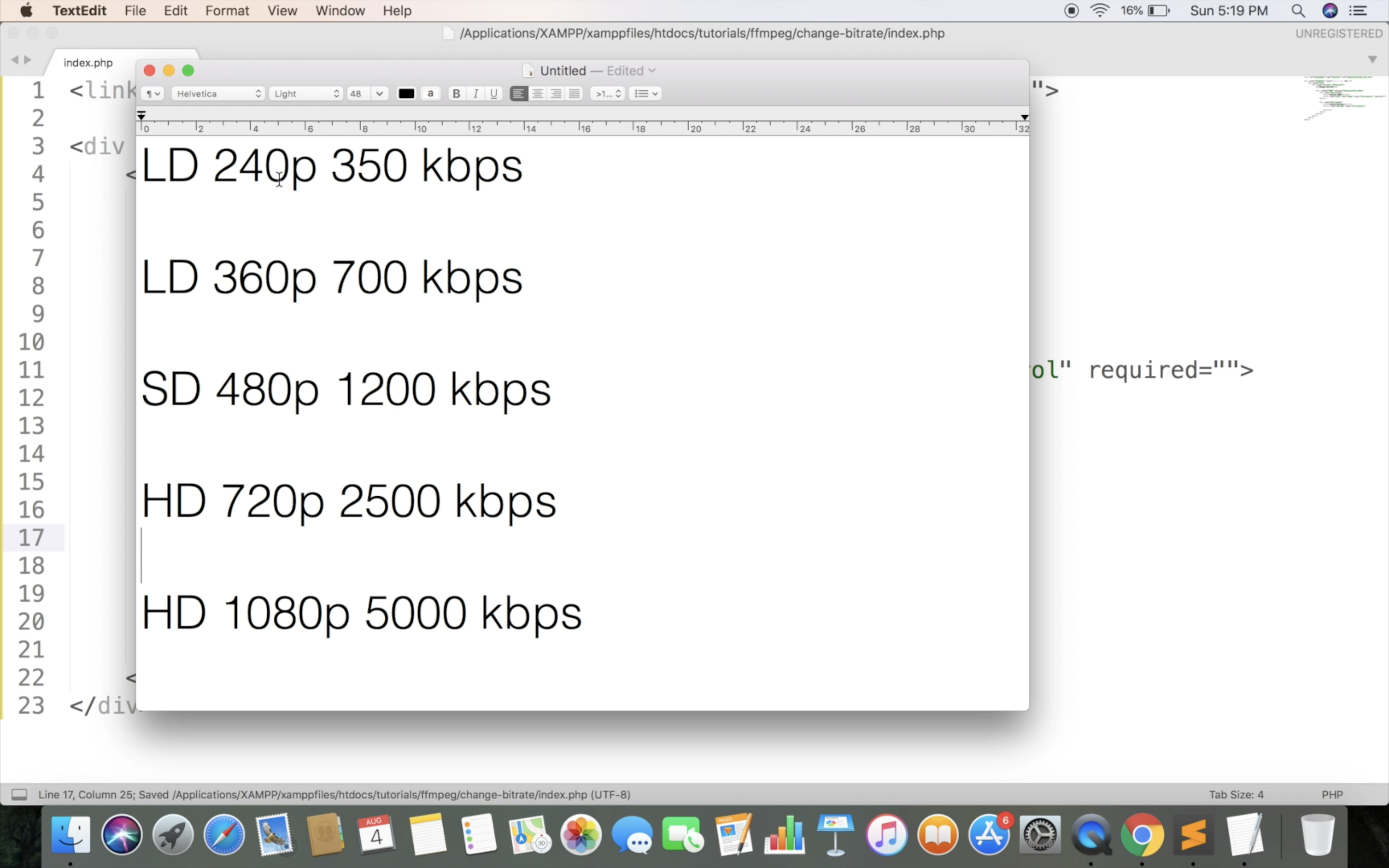Compress video in bitrate and resolution - PHP & FFmpeg