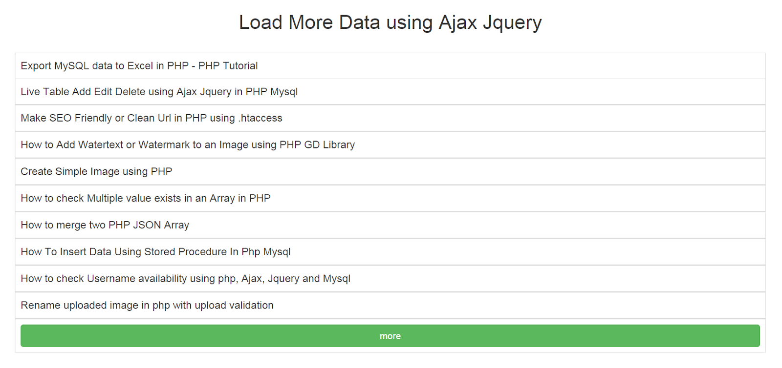 Load more data using Ajax - PHP