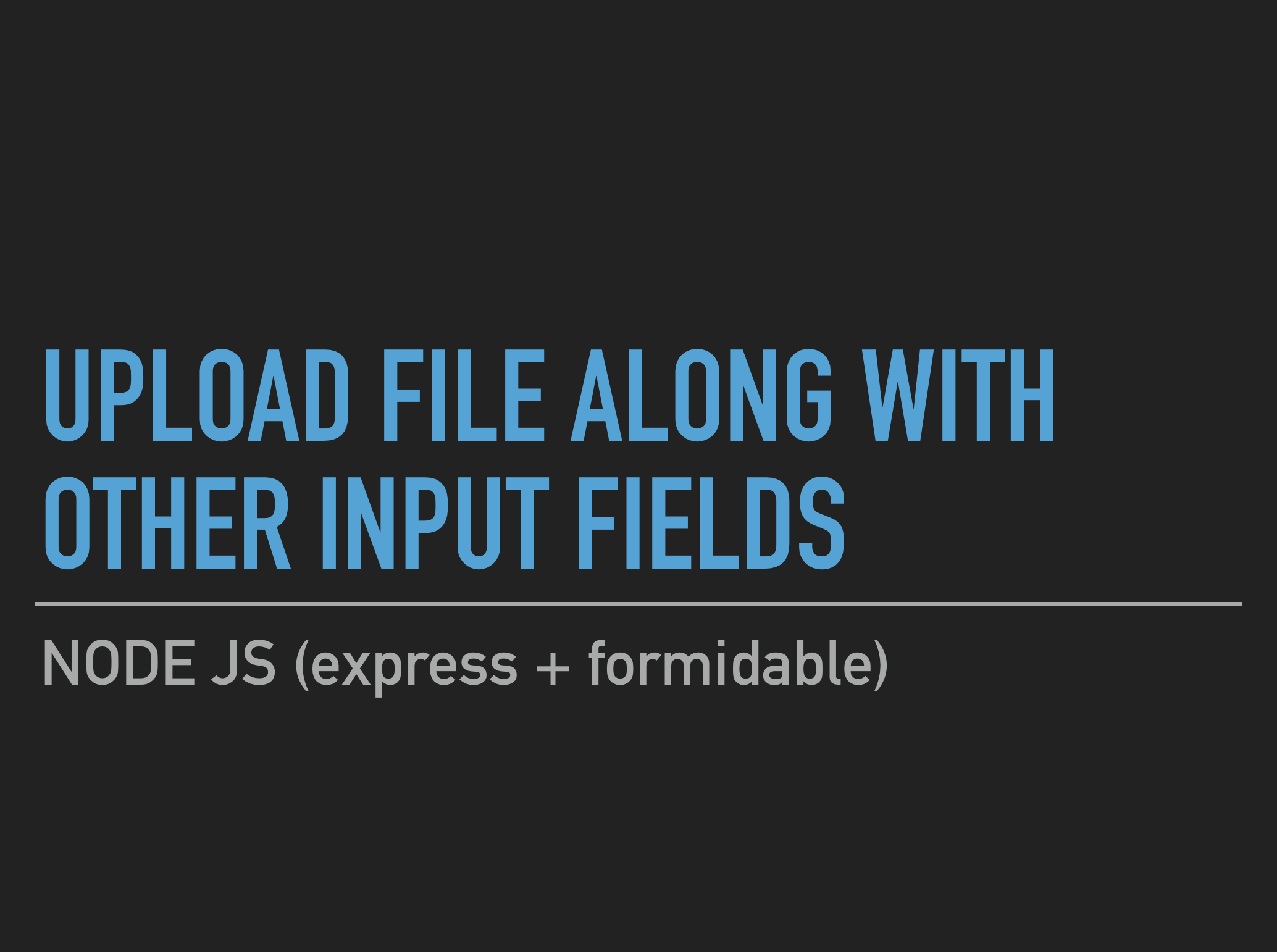 Node JS - Upload file along with other input fields
