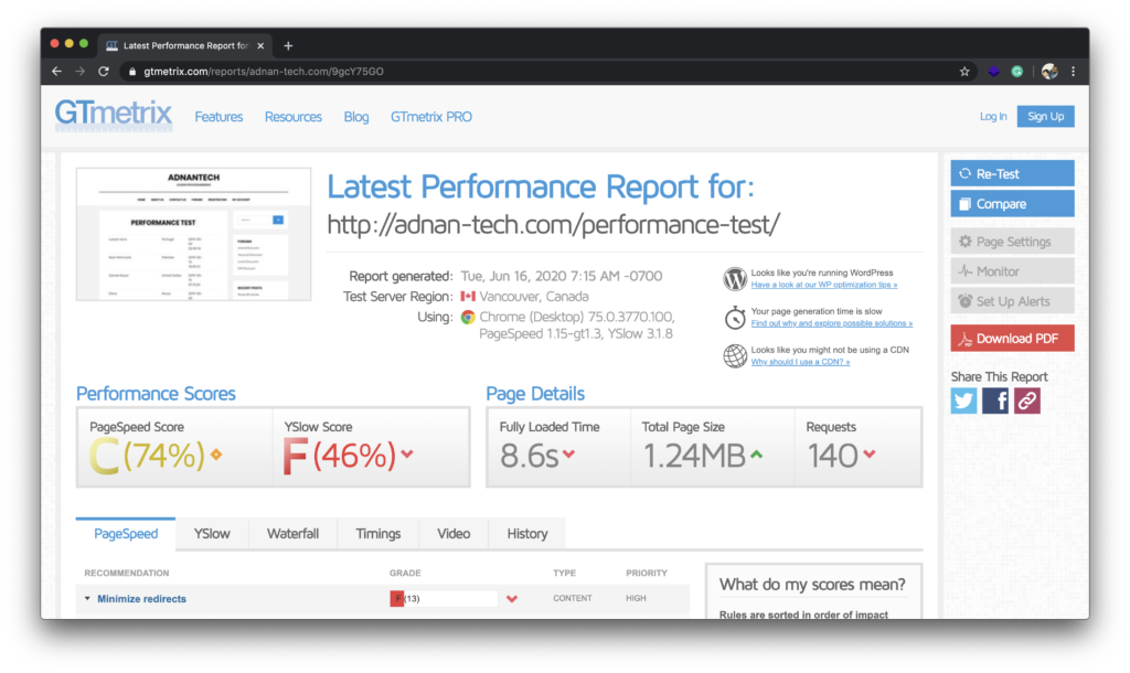 performance test php