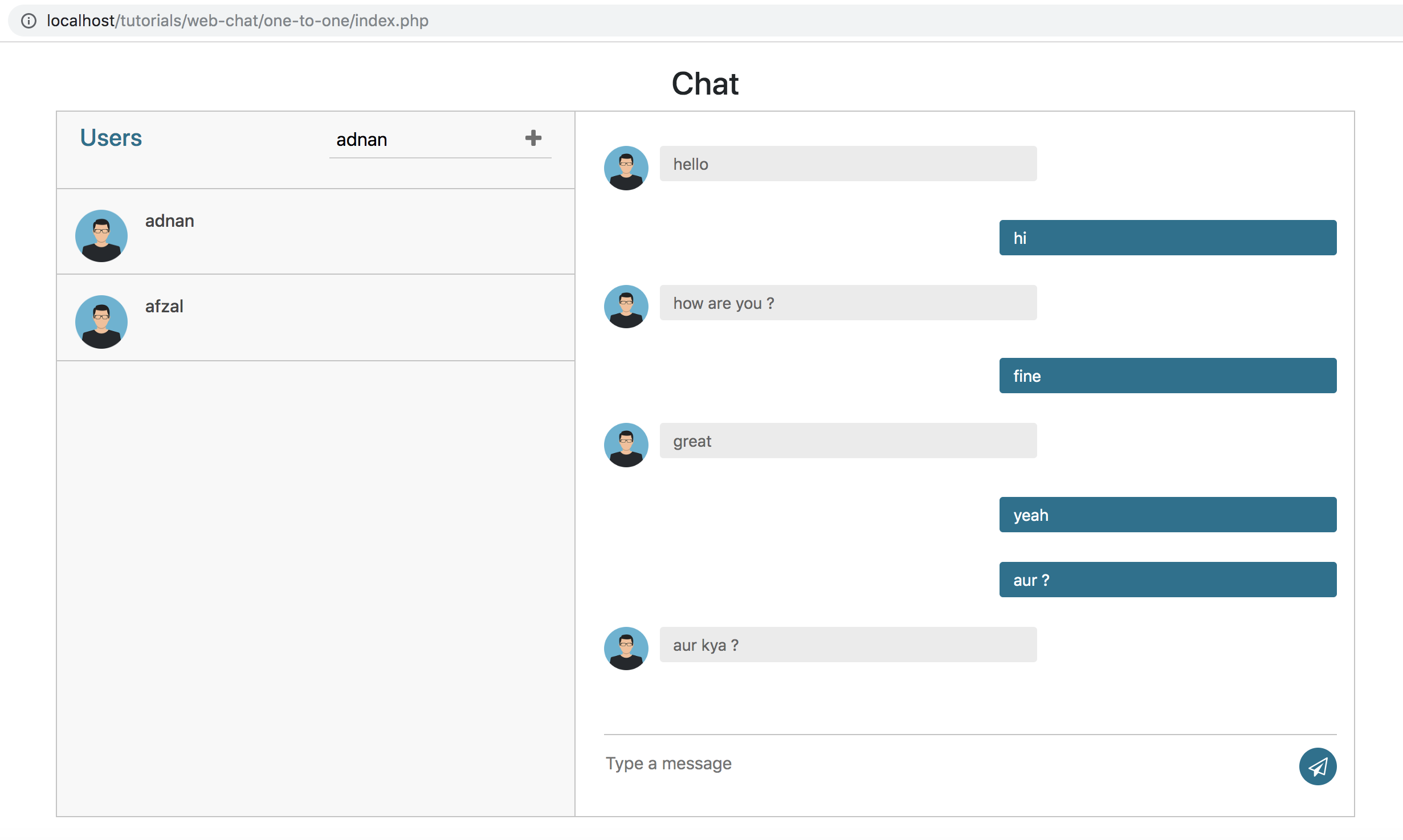 Private user to user chat in Node JS & MySQL