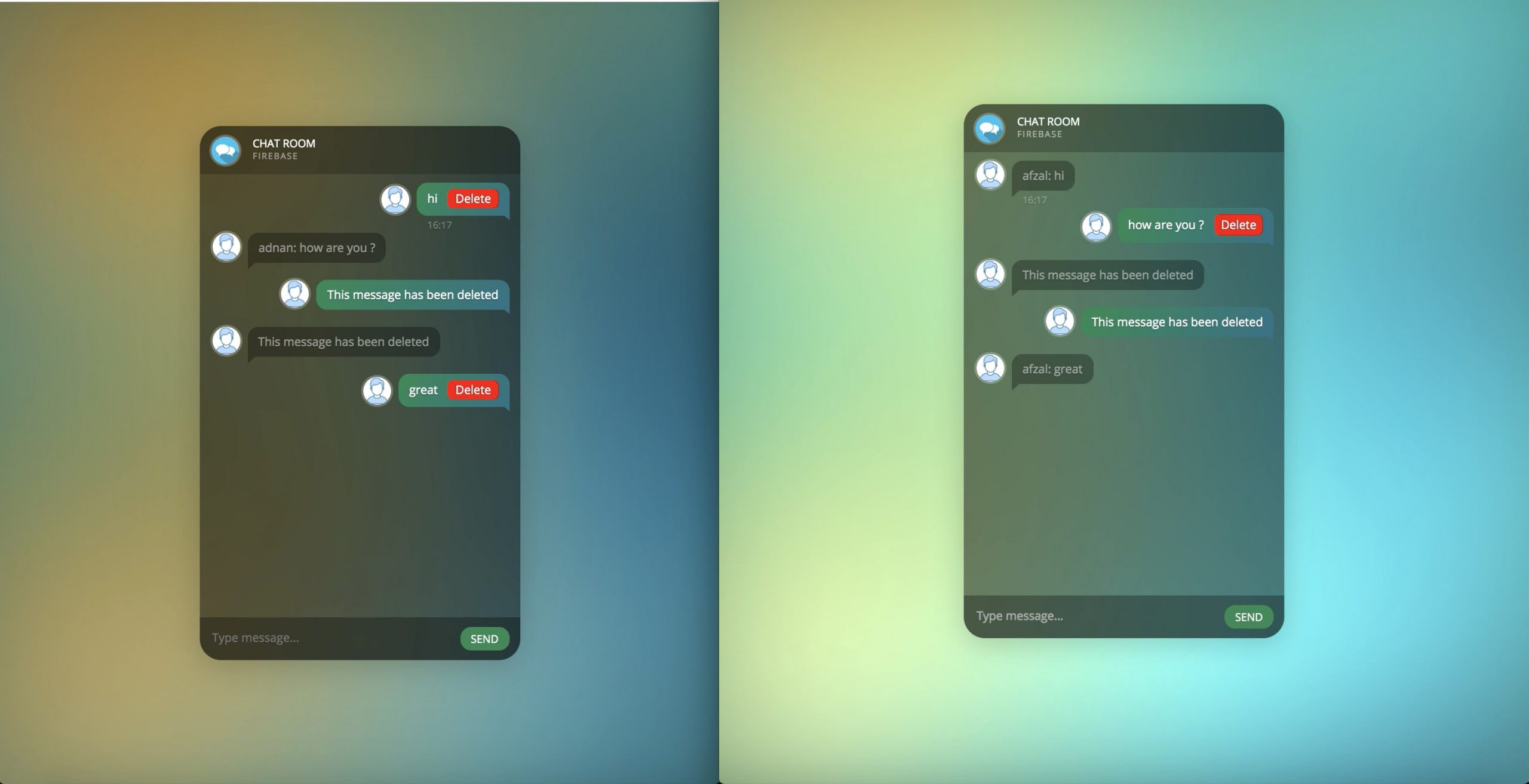 Realtime Web-based Chat in Firebase