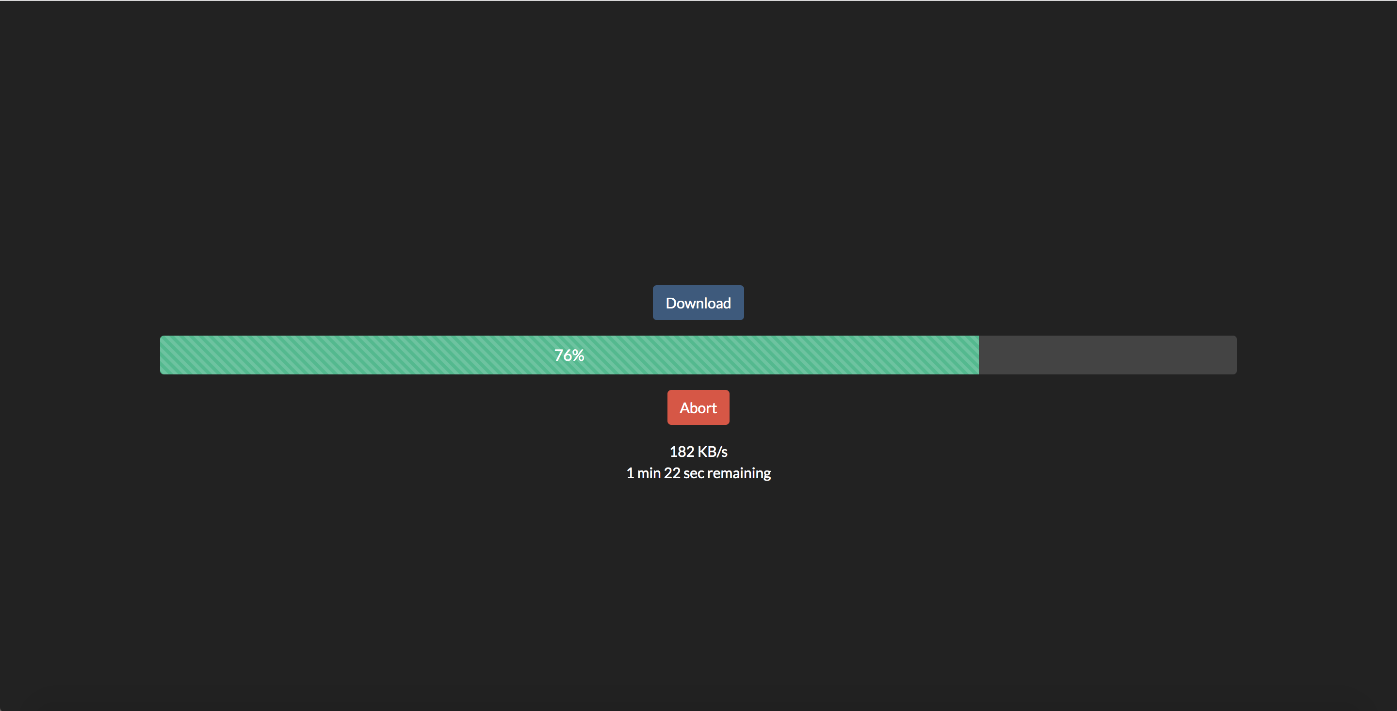 Show progress of download with remaining time - Javascript