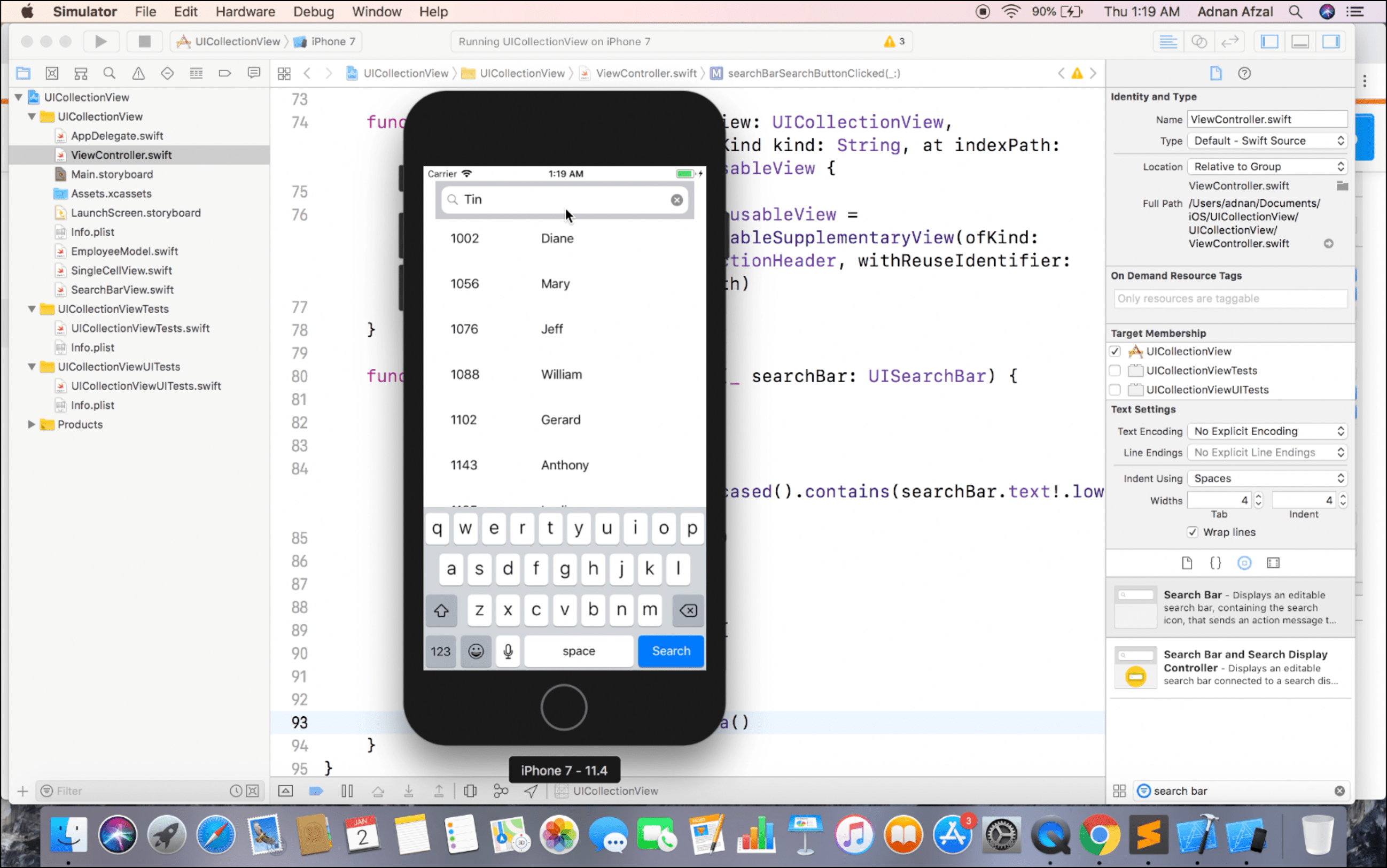 UICollectionview with Search Bar - Swift iOS