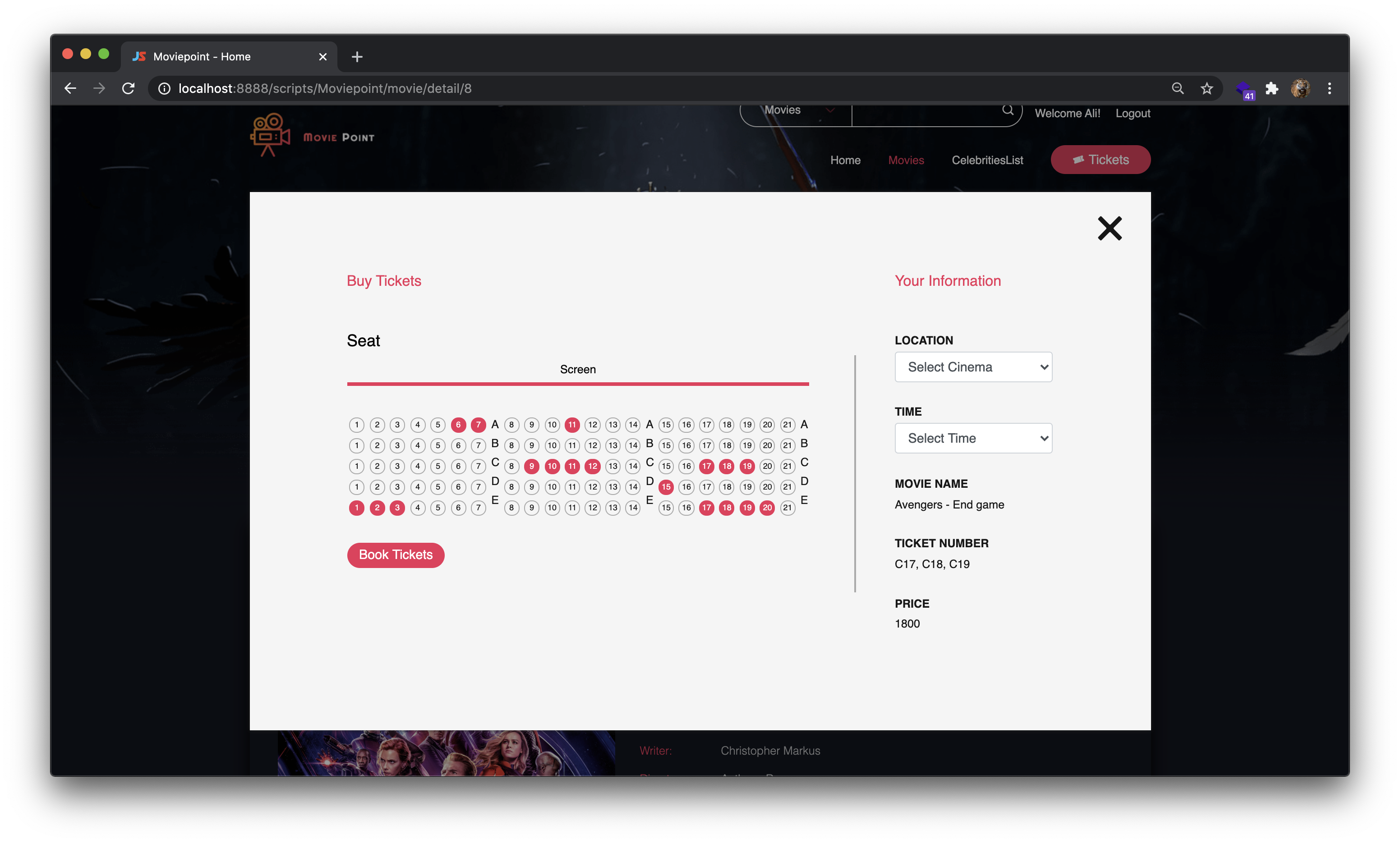 Screenshot-Movie-Ticket-Buchung-Website-PHP-MySQL