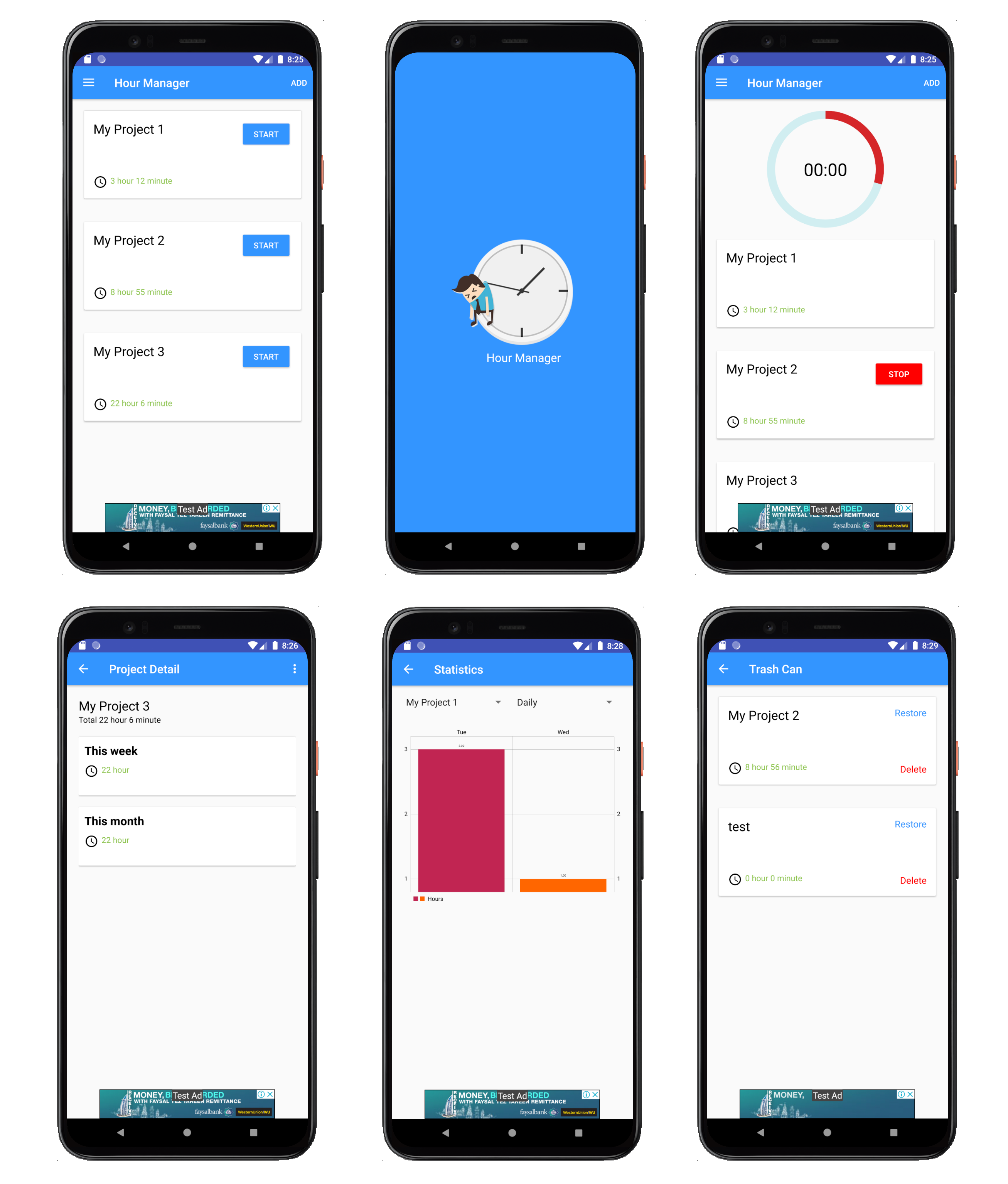 Project time tracking android app - Java, XML