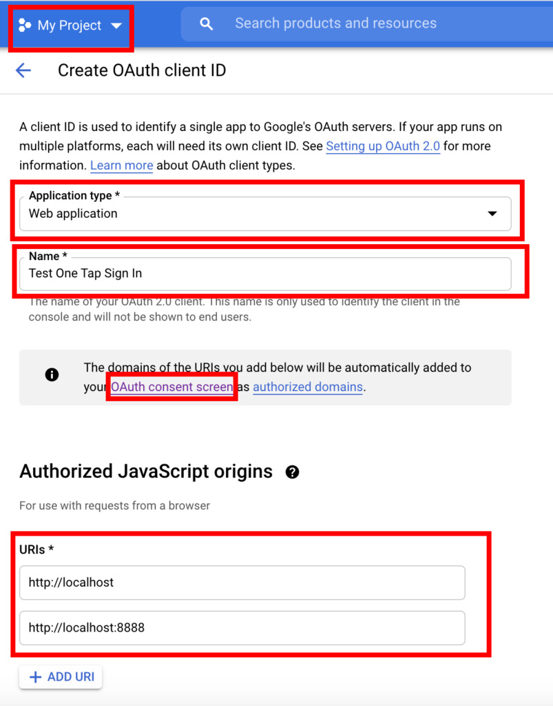 Create oauth client id - Google one tap signin
