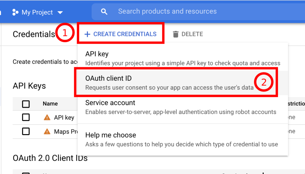 OAuth client ID create credentials - Google one tap signin